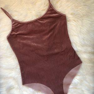 Zara Blush Pink Velvet Bodysuit